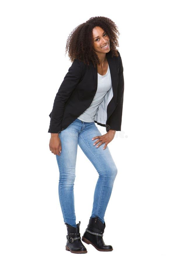黑色微笑的妇女年轻人 库存图片