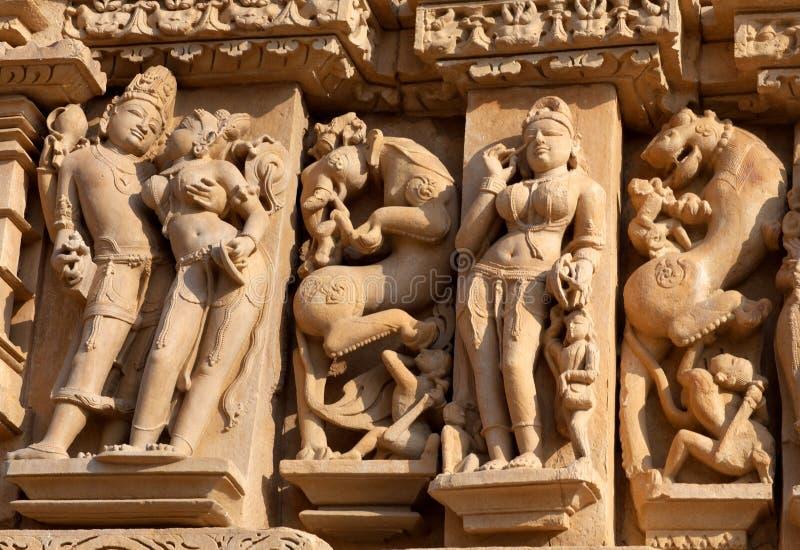 色情著名印度khajuraho寺庙 图库摄影
