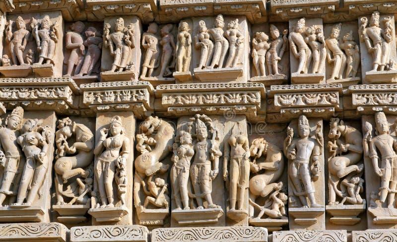 色情著名印度khajuraho寺庙 免版税库存照片