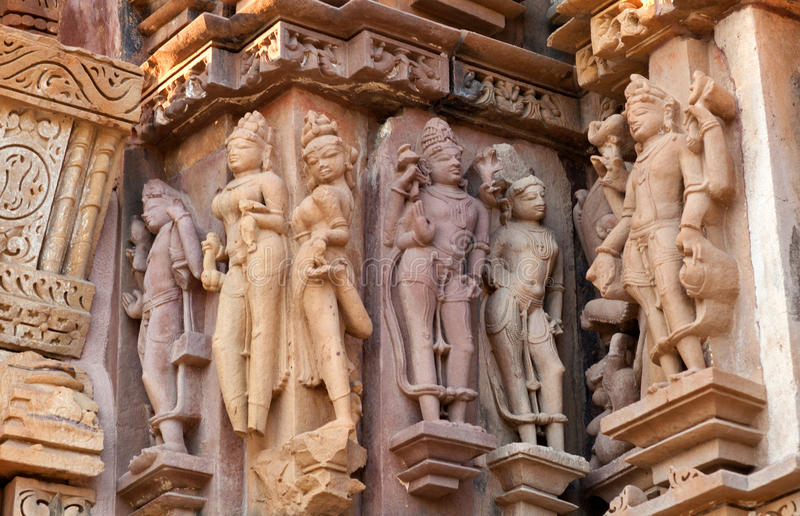 色情著名印度khajuraho寺庙 库存照片