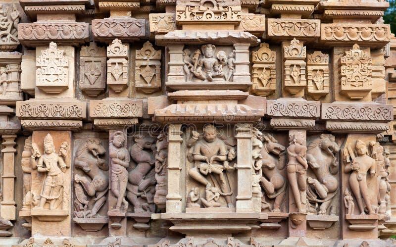 色情著名印度khajuraho寺庙 库存图片