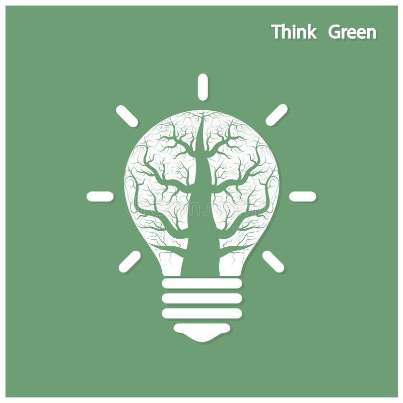 绿色想法射击树在一个电灯泡增长 皇族释放例证