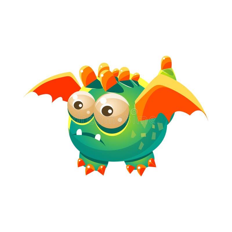 绿色意想不到的友好的宠物龙用桔子飞过幻想虚构的妖怪收藏 库存例证