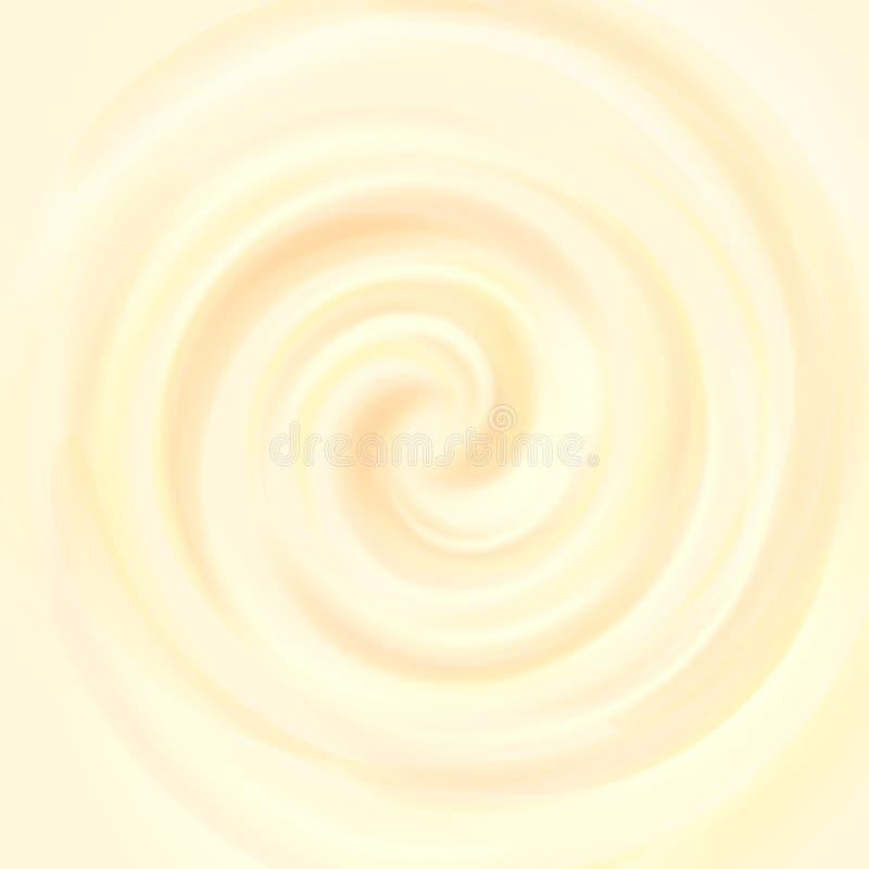 黄色打旋的乳脂状的纹理,冰淇凌背景 向量例证