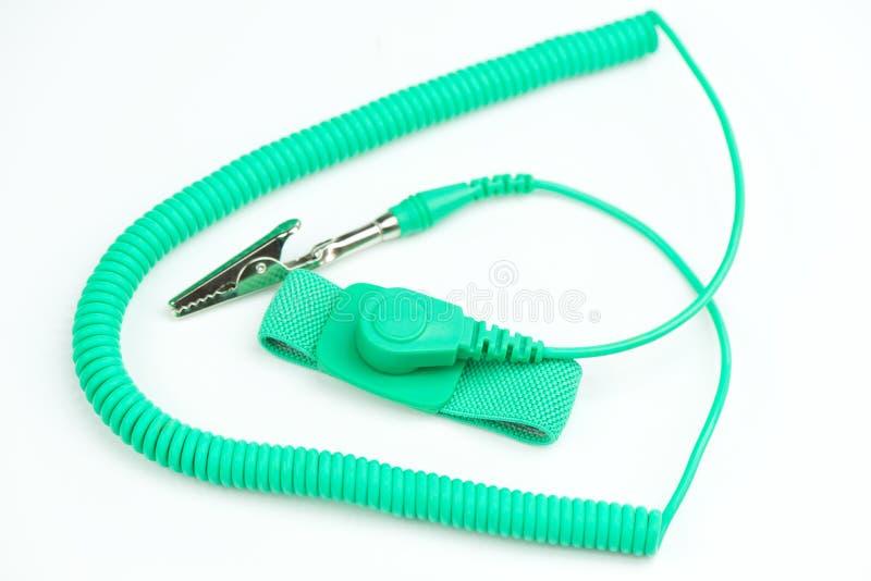绿色抗静电腕带 免版税库存照片