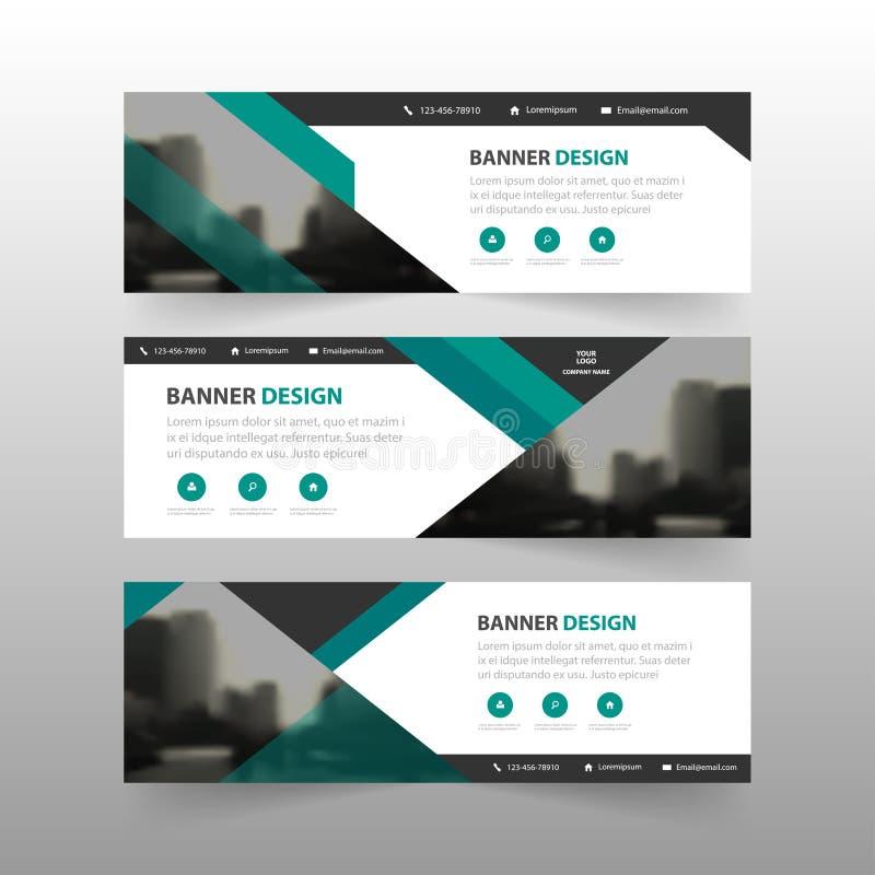 绿色抽象三角公司业务横幅模板,水平的广告业横幅布局模板平的设计集合 向量例证