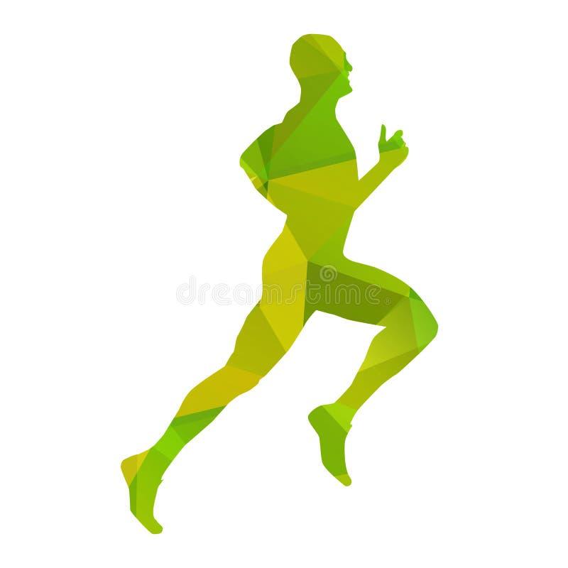 绿色抽象传染媒介赛跑者 库存例证