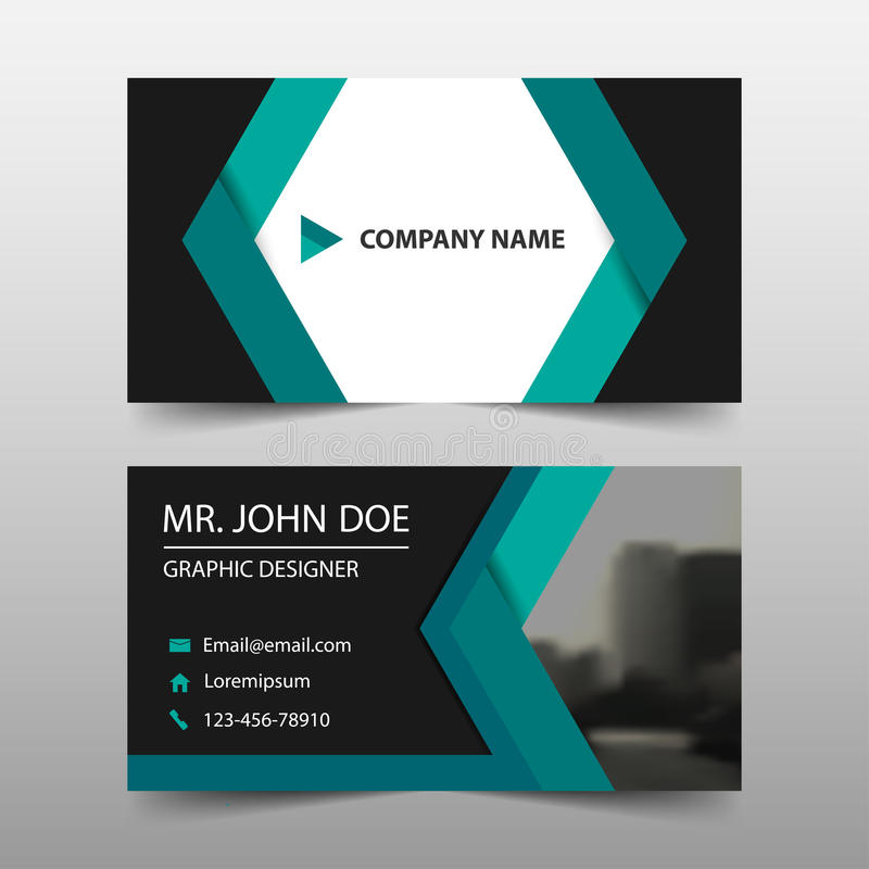 绿色抽象公司业务卡片,名片模板,水平的简单的干净的布局设计模板,名片 皇族释放例证