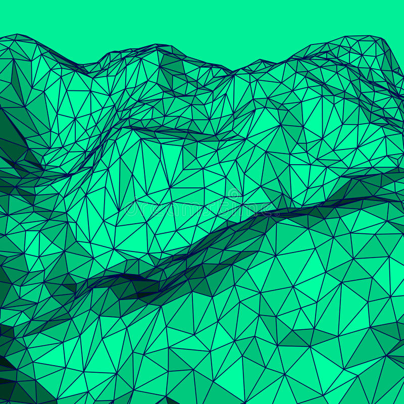 绿色抽象多角形背景 库存例证