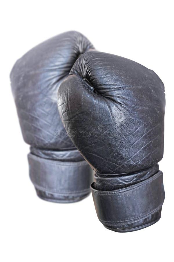 黑色拳击手套 免版税库存图片