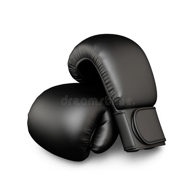 黑色拳击手套 皇族释放例证