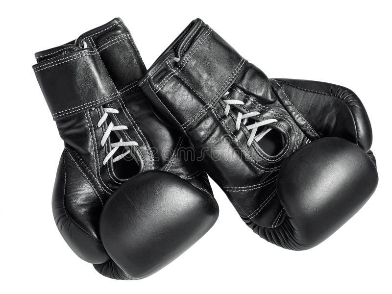 黑色拳击手套 免版税图库摄影