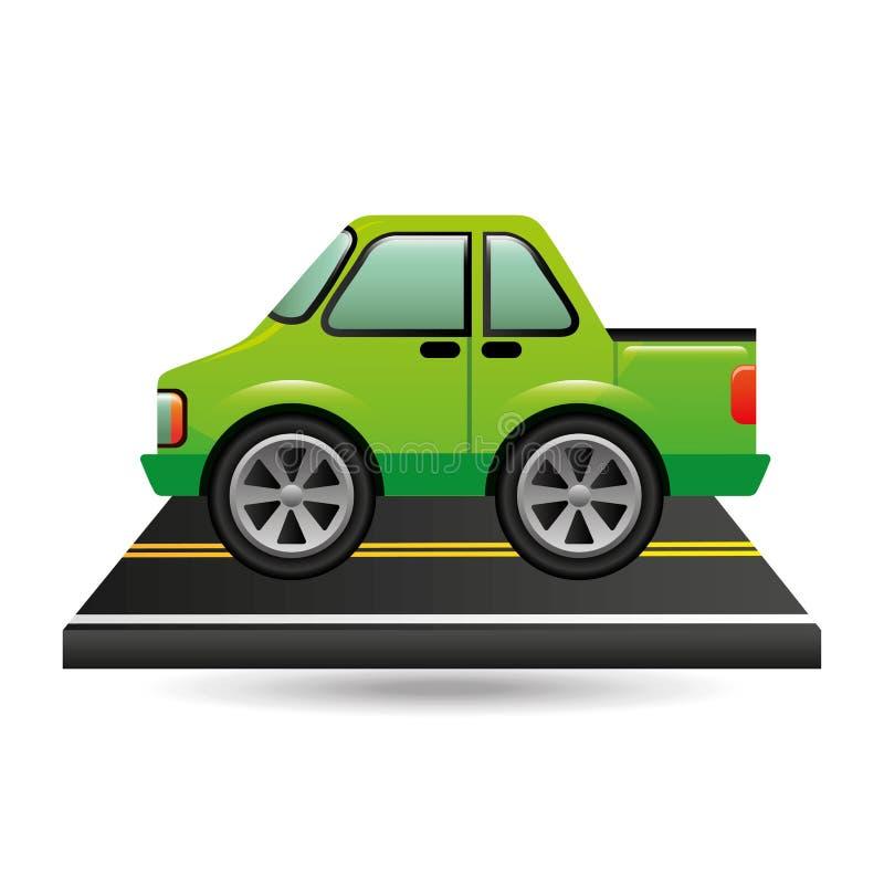绿色拾起在路的卡车 皇族释放例证