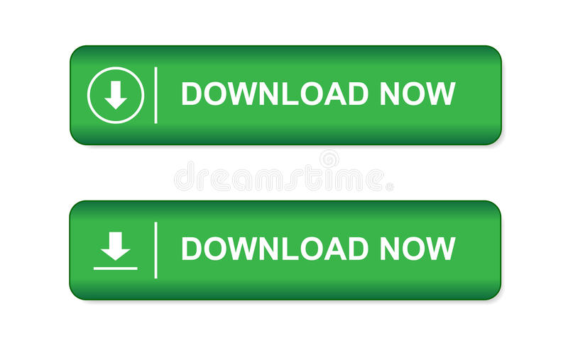 绿色按钮在网站上和在有箭头的e商店和词在白色背景下载现在隔绝 库存例证