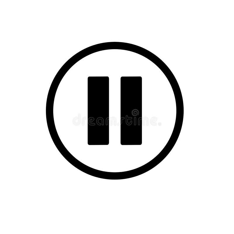 黑色按钮玻璃发光的绿色图标停留塑料反映 导航在白色在线性样式的象隔绝的 音频或录影象 皇族释放例证