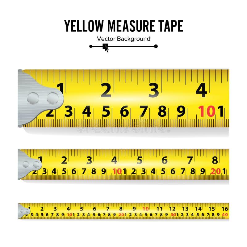 黄色措施磁带传染媒介 措施工具设备在英寸 几个变形,被称的比例 向量例证