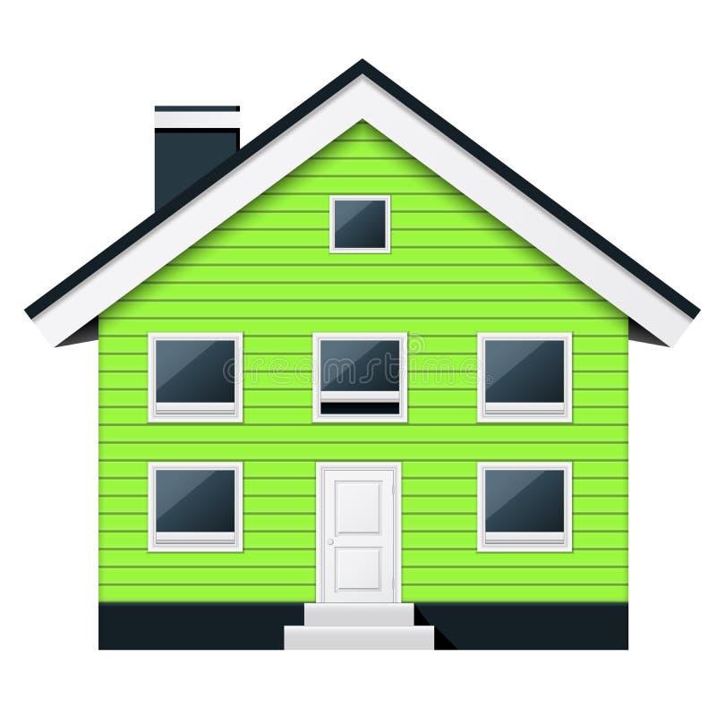 绿色斯堪的纳维亚公寓-郊区连栋房屋 向量例证