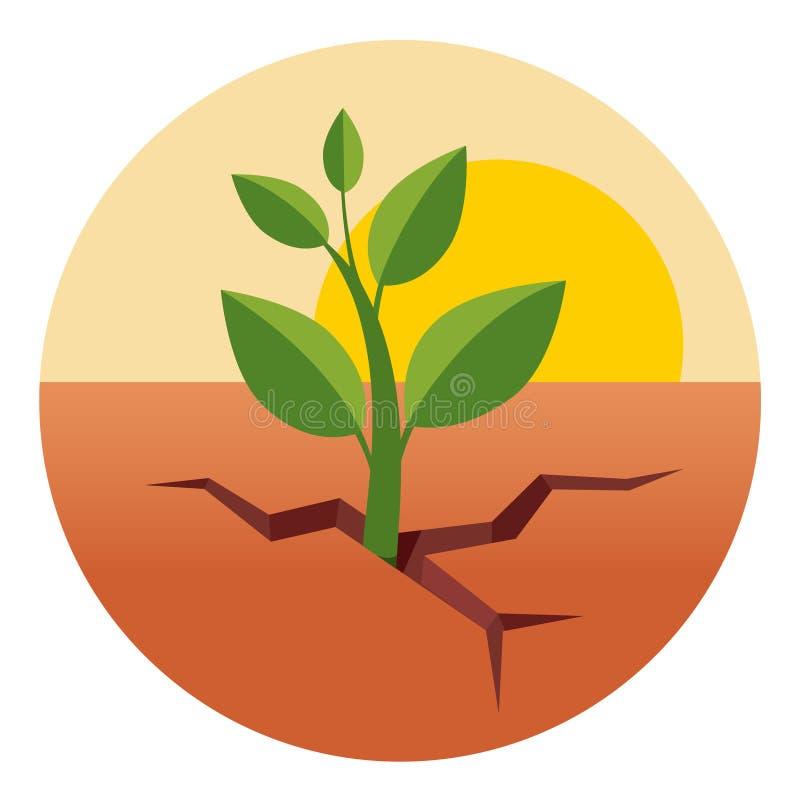 绿色新芽通过干燥沙漠地面增长 向量例证