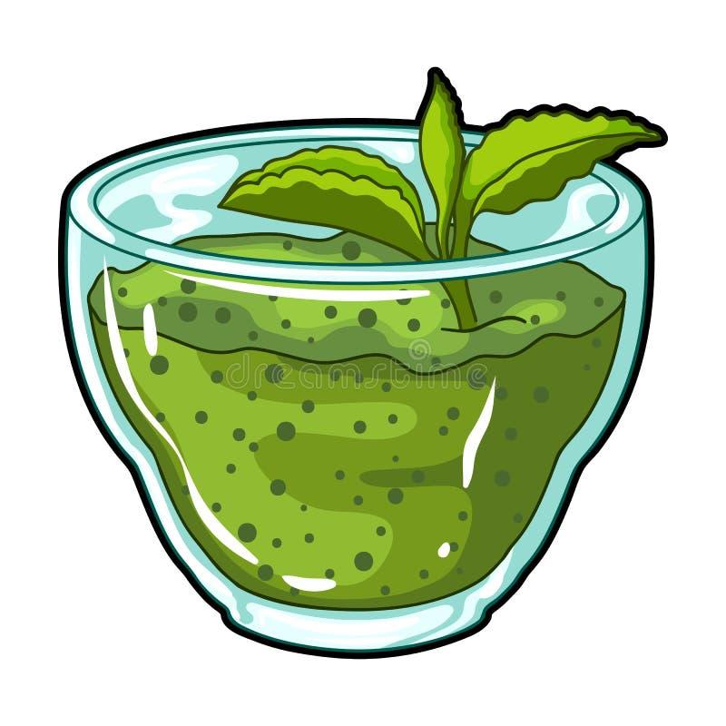 绿色新鲜的纯汁浓汤与一片薄荷的叶子的 绿色素食早餐  蔬菜菜肴选拔在动画片样式的象 向量例证
