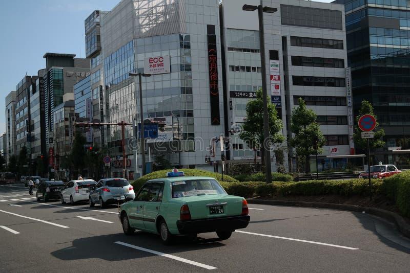 绿色日本出租汽车在京都,日本 免版税库存图片