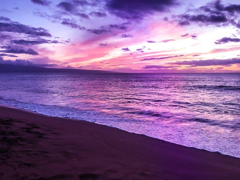 紫色日落在毛伊 免版税图库摄影