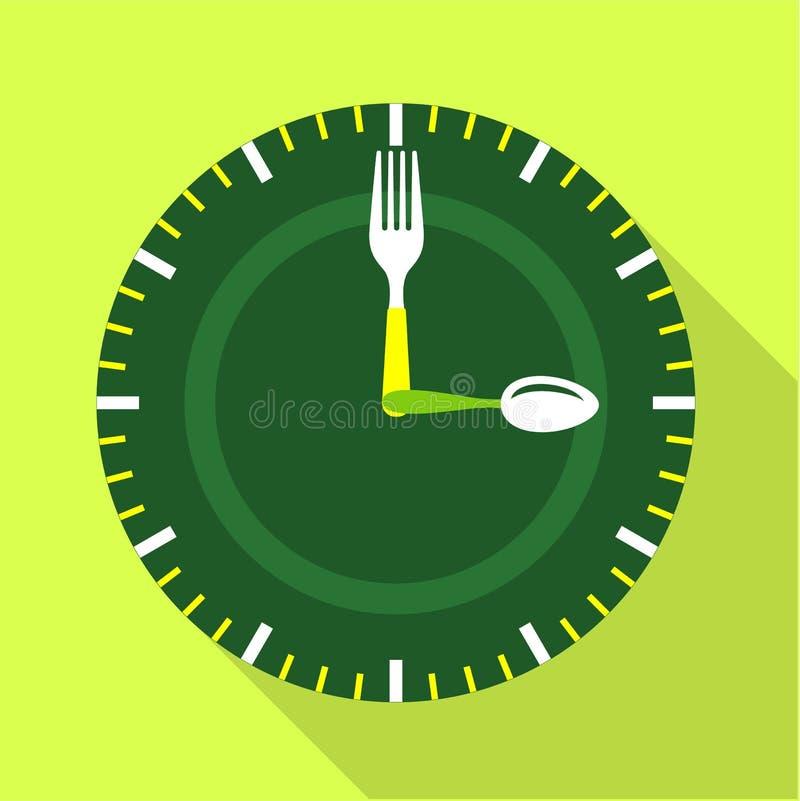 绿色时钟表盘象,平的样式 库存例证