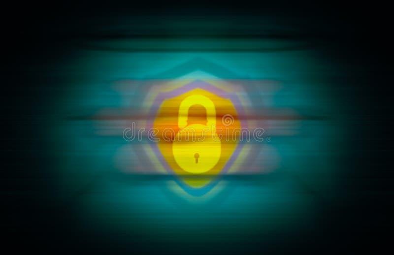 黄色明锁和盾在无缝的抽象背景合并了 库存例证