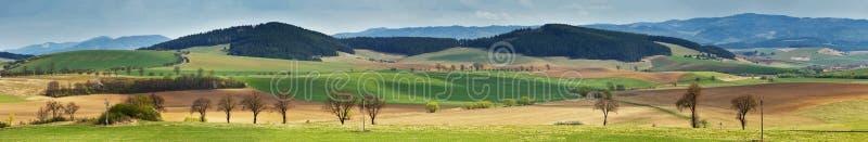 绿色春天小山在斯洛伐克 4月晴朗的乡下全景 库存图片