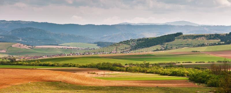 绿色春天小山在斯洛伐克 4月晴朗的乡下全景 库存照片