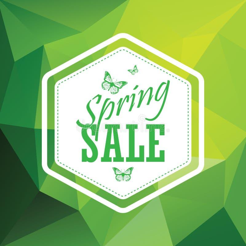 绿色春天销售低多角形背景与 向量例证