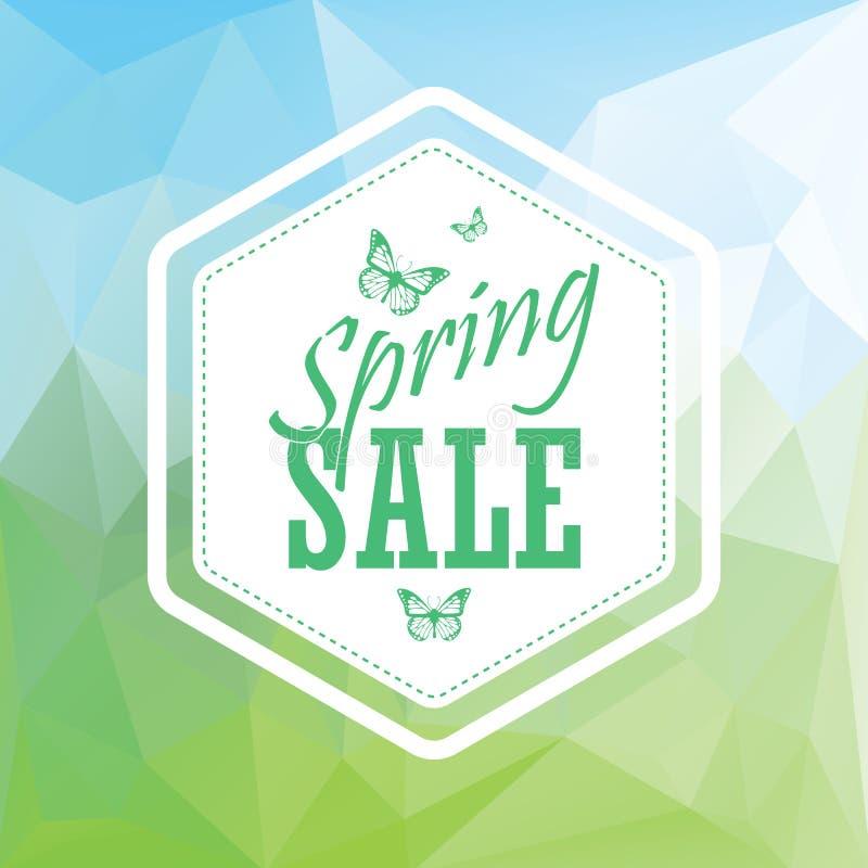 绿色春天销售低多角形风景 向量例证
