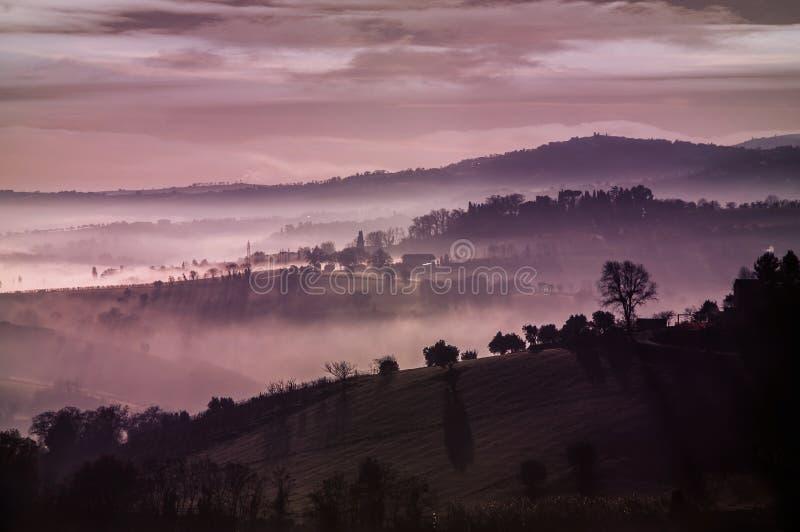 紫色有薄雾的小山 免版税库存照片