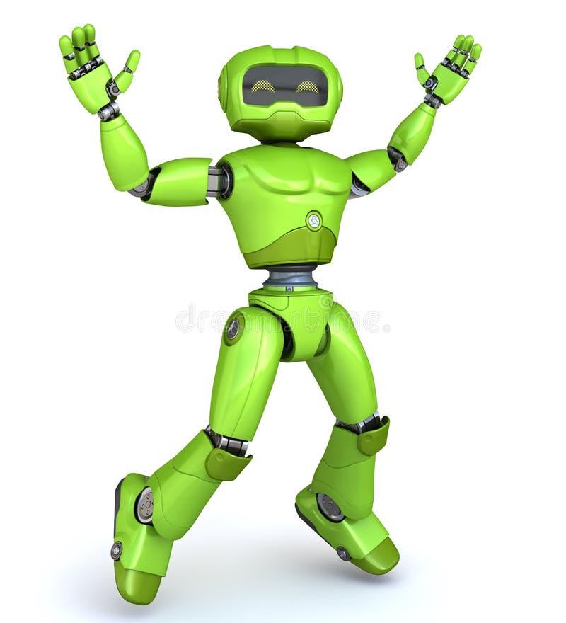 绿色机器人跳跃  皇族释放例证