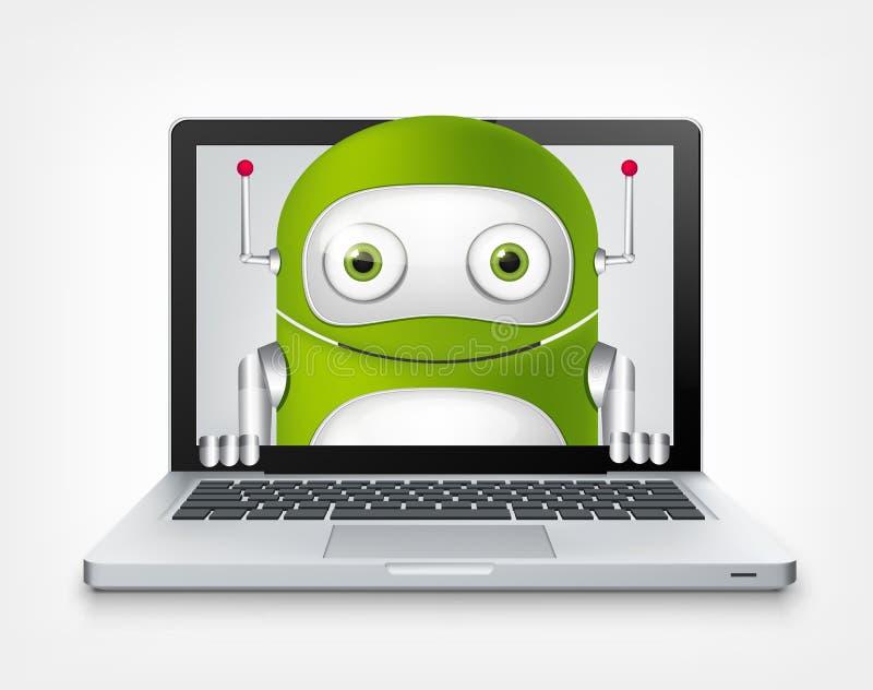 绿色机器人 皇族释放例证