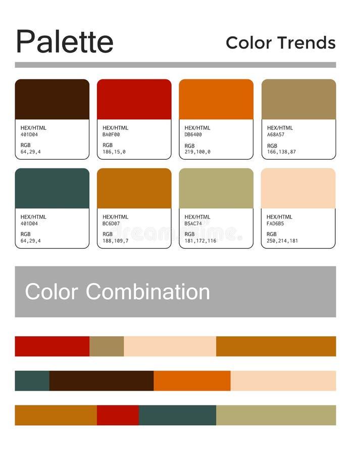 色板显示,和谐组合 时尚颜色用于设计、网、衣裳、内部和纺织品 向量 向量例证