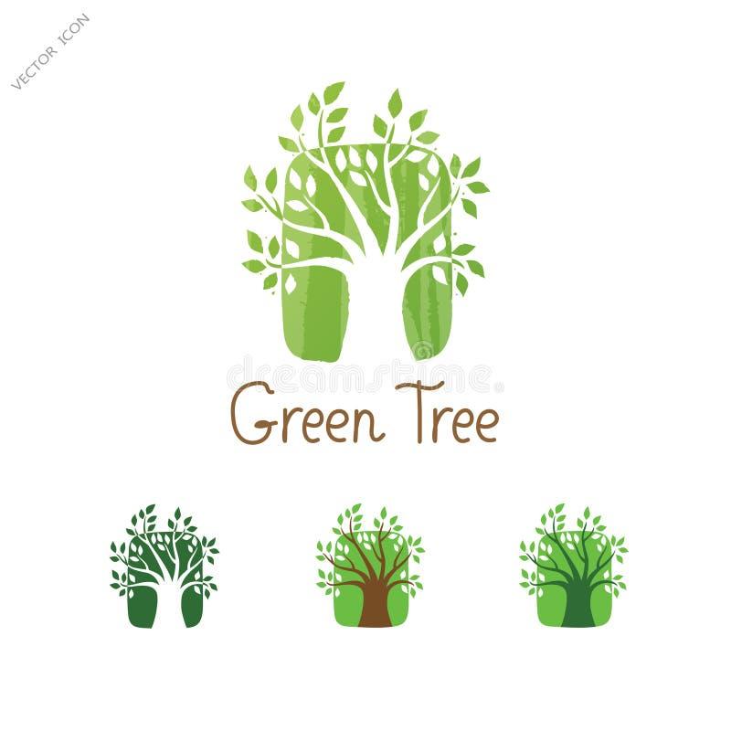 绿色树传染媒介商标设计 庭院概念 Eco图标 库存例证