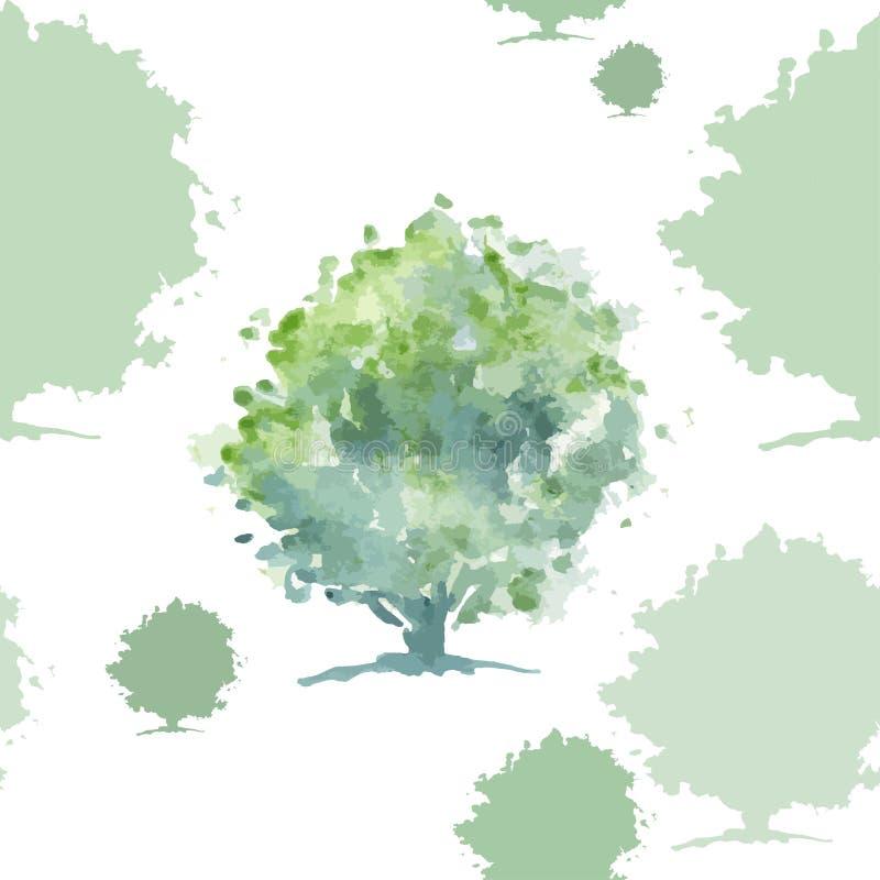 绿色树无缝的样式 皇族释放例证