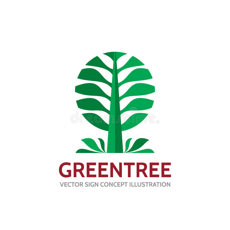 绿色树-导航商标模板在平的样式的概念例证 风景森林创造性的标志 本质符号 皇族释放例证