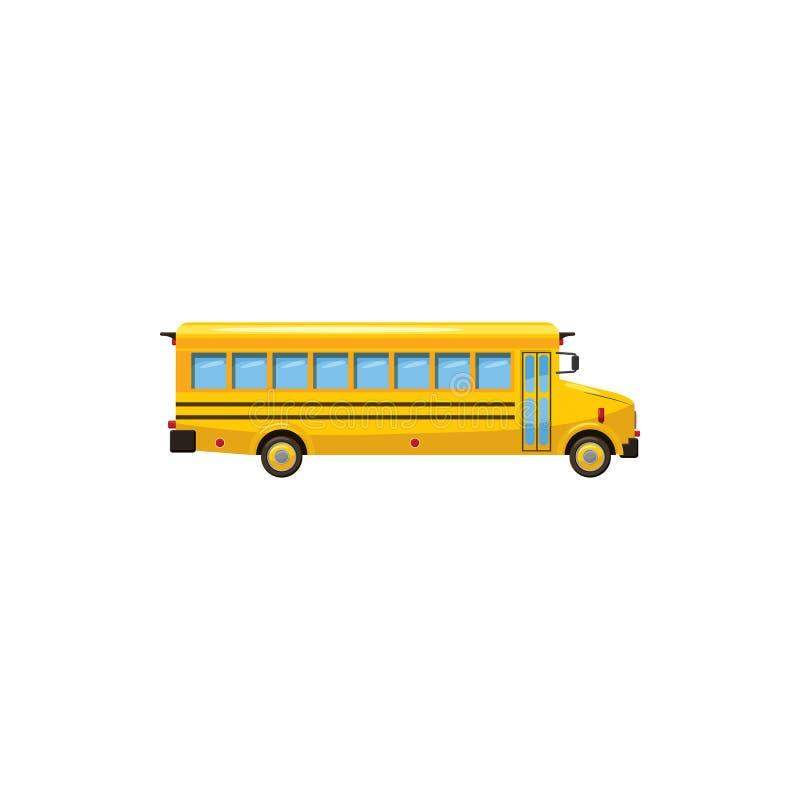黄色校车象,动画片样式 向量例证