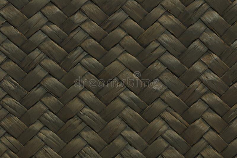 黑色样式的被编织的秸杆纹理 库存照片
