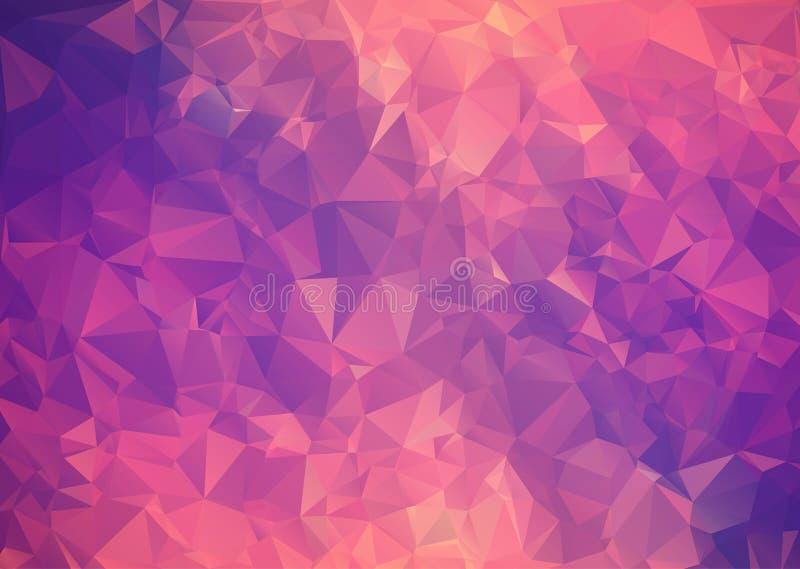 紫色桃红色抽象背景多角形。 库存例证