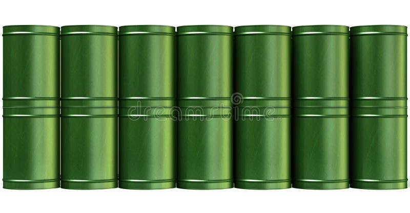 绿色桶堆前面 向量例证
