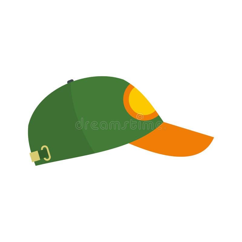 绿色棒球帽平的象 向量例证