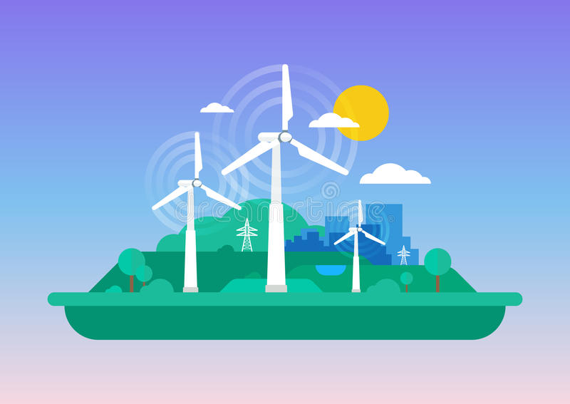 绿色概念-风能 向量例证