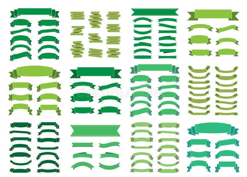 绿色横幅大集合美丽的空白的装饰丝带 皇族释放例证