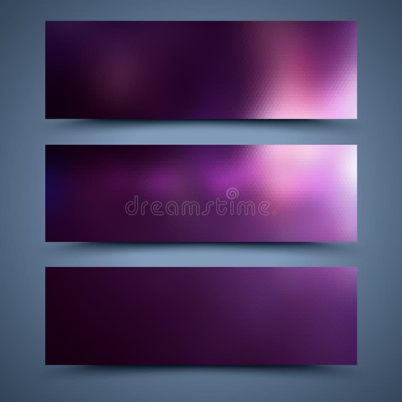 紫色横幅模板。抽象背景 向量例证