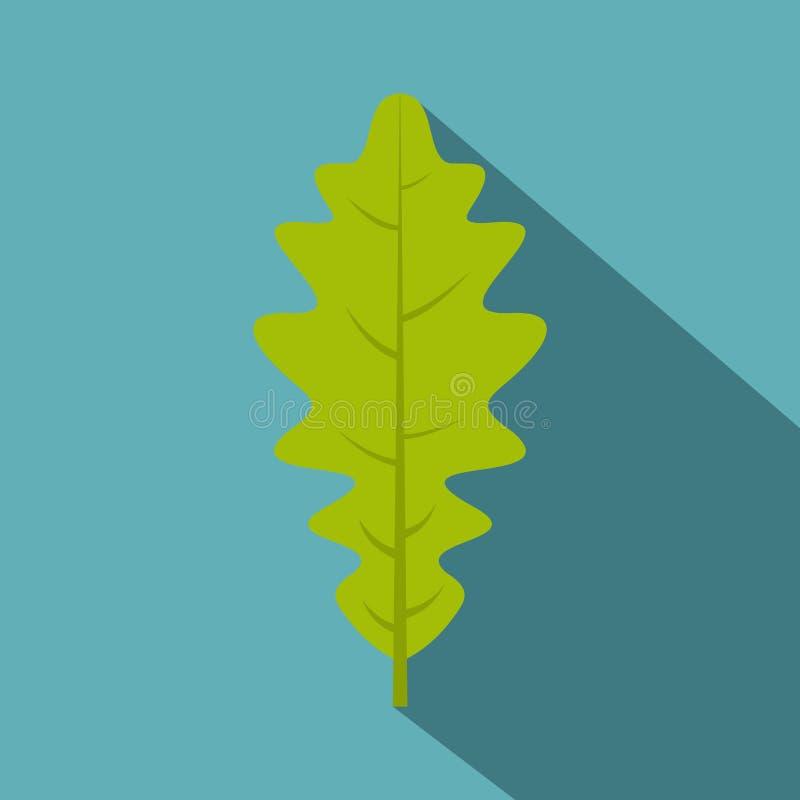 绿色橡木叶子象,平的样式 向量例证