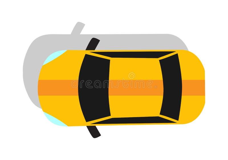 黄色汽车顶视图平的设计 皇族释放例证