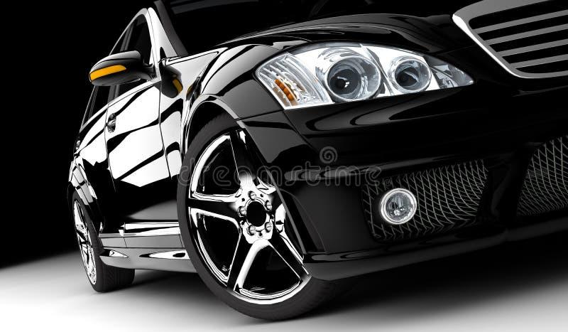 黑色汽车 皇族释放例证