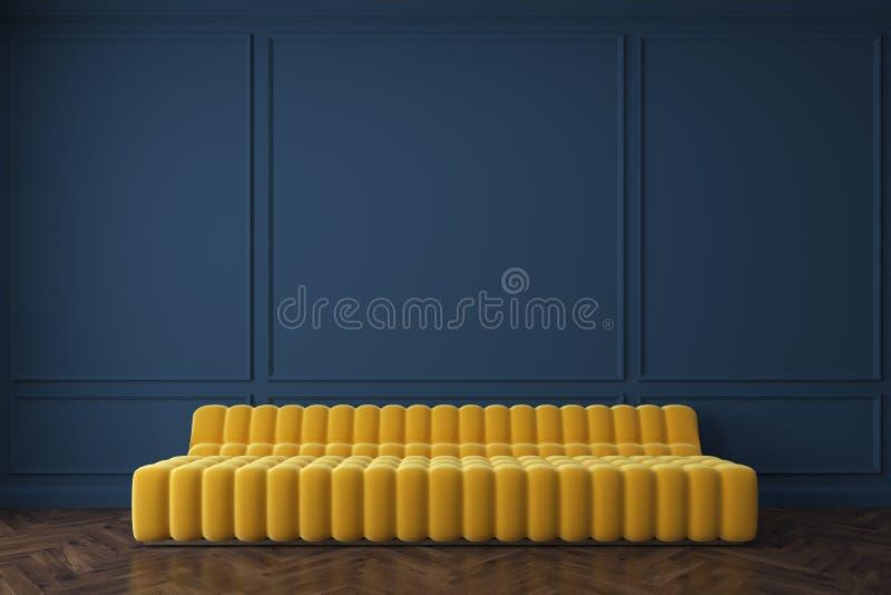 黄色沙发对深蓝墙壁 向量例证